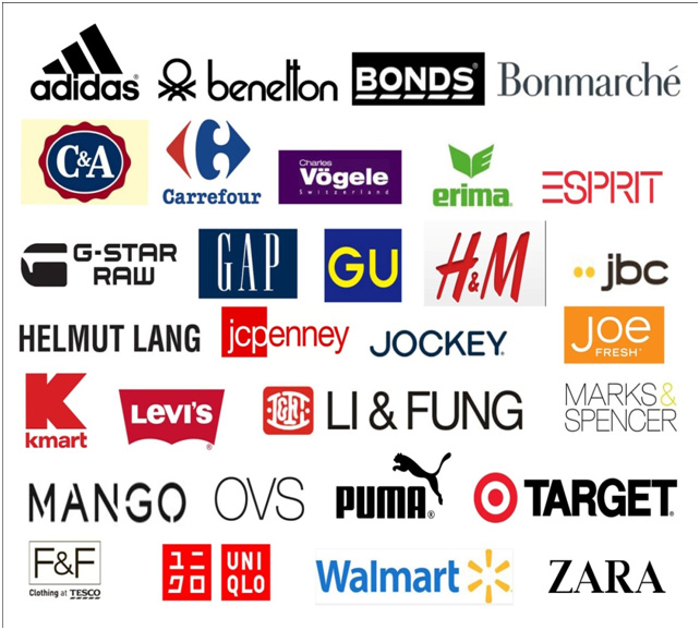 clothing brand names list international clothing company