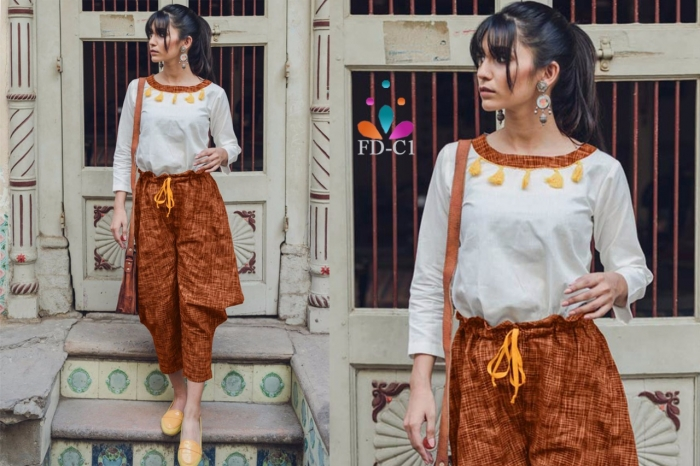 Women Designer Tops Pants In Khadi Fabric Wholesale Stocklots And Traders